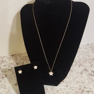 14kt Gold Necklace with Star Pendant and Earrings